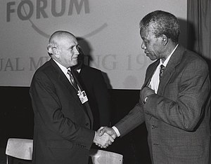 F. W. de Klerk - Frederik de Klerk and Nelson Mandela shake hands at the Annual Meeting of the World Economic Forum held in Davos in January 1992.
