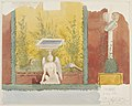 Fresco of a garden with sculplture of a winged being in Pompeii watercolor by Luigi Bazzani.jpg