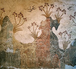 Bird migration - Minoan fresco of swallows in springtime at Akrotiri, c. 1500 BC