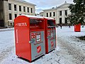 Fretex textiles collection boxes (Frelsesarmeens julekrybbe), Universitetsplassen, Oslo, Norway 2017-12-14 a.jpg