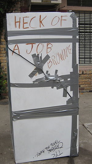 "Michael D. Brown - Post-Katrina, many New Orleanians added graffiti to their trashed appliances set on curbs to be hauled away. Here a refrigerator inscription satirizes Bush's ""Heck of a job"" praise for Brown."