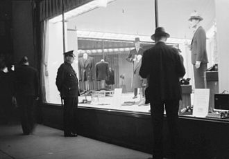 Simpsons (department store) - Menswear showcase of Simpson's store on St. Catherine Street in Montreal, 1936