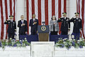 From left, Chairman of the Joint Chiefs of Staff Army Gen. Martin E. Dempsey, Secretary of Defense Chuck Hagel, President Barack Obama and other guests render honors during the playing of the national anthem as 130527-A-LR102-863.jpg