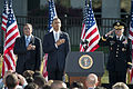 From left, Secretary of Defense Leon Panetta, President Barack Obama and U.S. Army Gen. Martin Dempsey, the chairman of the Joint Chiefs of Staff, render honors as the national anthem is played during a ceremony 120911-A-AO884-053.jpg