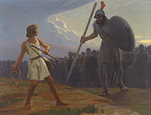 Portrait of David fighting Goliath