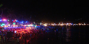 Full Moon Party - Full Moon Party March 2015, view over Haad Rin Suinrise Beach