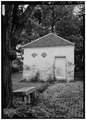 GENERAL VIEW OF SMOKEHOUSE, CLOSER - Spring Bank Farm, 7506 Old Shepherdsville Road, Louisville, Jefferson County, KY HABS KY,56-LOUVI,7-7.tif