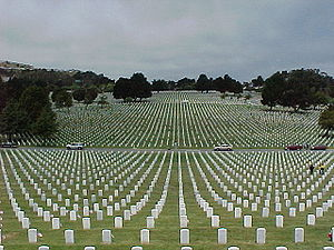 Golden Gate National Cemetery - A view out from the center of the cemetery