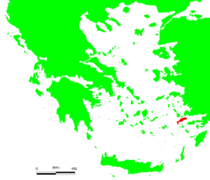 Battle of Kos - Location of Kos in the Aegean Sea