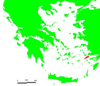 Battle of Kos - Location of Kos in the Aegean Sea