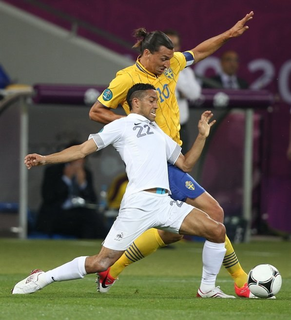 Gaël Clichy and Zlatan Ibrahimović Sweden-France Euro 2012