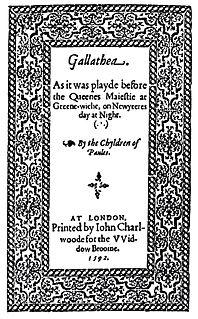 <i>Gallathea</i> Elizabethan comedy by John Lyly