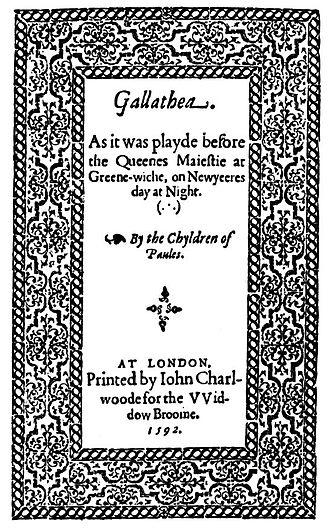 Gallathea - Title page of Gallathea.