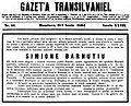 Gazeta Transilvaniei - Simione Barnutiu obituary.JPG