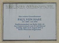 Gedenktafel Paul von Hase