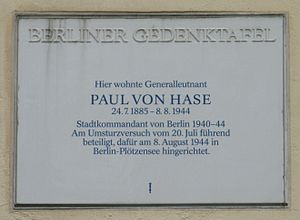 Paul von Hase - Memorial for von Hase in Berlin.