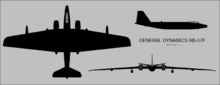 General Dynamics RB-57F Canberra three-view silhouette.png
