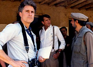 Afghanistan–Pakistan relations - George Crile III and Charlie Wilson (Texas politician) with an unnamed political personality in the background (person wearing the aviator glasses looking at the photo camera). They were the main players in Operation Cyclone, the code name for the United States Central Intelligence Agency program to arm and finance the multi-national mujahideen during the Soviet war in Afghanistan, 1979 to 1989.