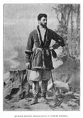 Georgian noble Machavariani in national costume (de Baye).JPG