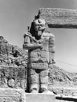 Temple of Ptah (Karnak) - Gerf Hussein, Statue of Ramses II in the court yard of the Temple of Ptah