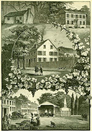 Germantown, Philadelphia - Pictures from Old Germantown: the Pastorius family residences are shown on the upper left (c. 1683) and upper right (c. 1715), the center structure is the house and printing business of the Caurs family (ca. 1735), and the bottom structure is the market place (c. 1820).