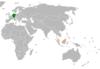 Lage von Deutschland und Malaysia
