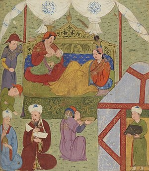 Buluqhan Khatun - Buluqhan Khatun's grandson Ghazan being breastfed. Rashid al-Din, early 14th century