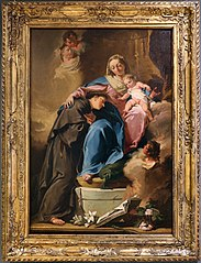 The Madonna and Child, Saint Anthony of Padua and three little angels (Pittoni)