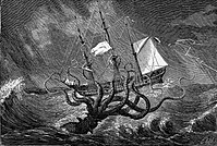 Imaginary view of a gigantic octopus seizing a ship.