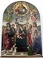 Giovanni santi, madonna col bambino in trono, santi e la famiglia Buffi.JPG