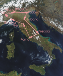 Overview of the stages: route clockwise from Milan, down  to Pescara, over to Rome, and up to Bergamo