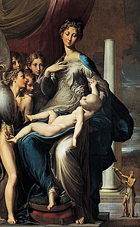 In Parmigianino's Madonna with the Long Neck (1534-40), Mannerism makes itself known by elongated proportions, affected poses, and unclear perspective.