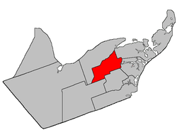 Location within Gloucester County, New Brunswick