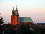 Gniezno. View of metropolitan cathedral and church of St John the Baptist.JPG