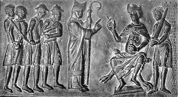 Boleslav II, the Pious on a segment of the Gnesen bronze door: the relief shows negotiations with Adalbert von Prague to buy Christian slaves free