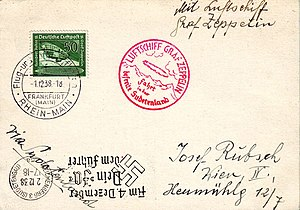 "LZ 130 Graf Zeppelin II - Post card carried from Frankfurt (Rhein-Main) to Reichenberg (Sudetengau) on the ""Sudetenduetsch Freiheitsfahrt 1938"" on the first mail flight of the ""Graf Zeppelin II"" (DLZ130), December 1–2, 1938"