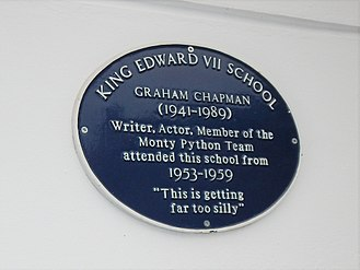 Graham Chapman - A blue plaque at Melton Mowbray Grammar School (now King Edward VII School), which Chapman attended