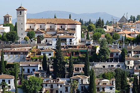 View of Albayzín from Alhambra palace in Granada