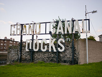 Dublin Docklands - The rusting Grand Canal Docks sign at the opening to the Grand Canal.