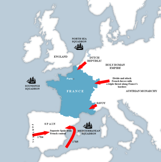 France's central position required the Grand Alliance to attack on exterior lines. Grand Strategy, War of the Spanish Succession.png