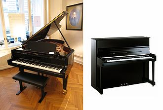 Piano - Image: Grand piano and upright piano