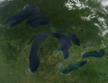 Great Lakes region as viewed from the Moderate Resolution Imaging Spectroradiometer on NASA's Aqua satellite on 28 August 2010 at 1330 Central Daylight Time.png