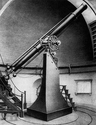 Harvard College Observatory - Sketch of Harvard's Great Refractor telescope