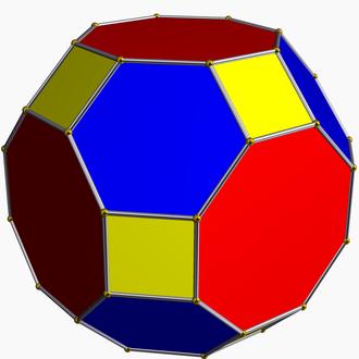 Zero-symmetric graph - The truncated cuboctahedron, a zero-symmetric polyhedron