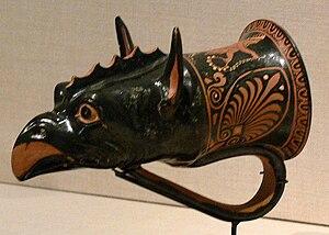 Rhyton - Pottery griffon's head rhyton, Apulia, c. 350-300 BC