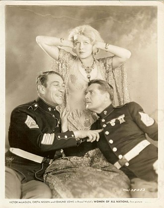 Victor McLaglen - Promotional photo of McLaglen, with Greta Nissen and Edmund Lowe, for the 1931 comedy film Women of All Nations