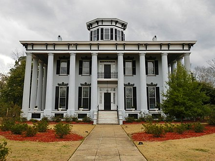 Built in 1857, Grey Columns now serves as the home of the president of Tuskegee University. It was added to the National Register of Historic Places on January 11, 1980. Grey Columns Tuskegee, Alabama.JPG