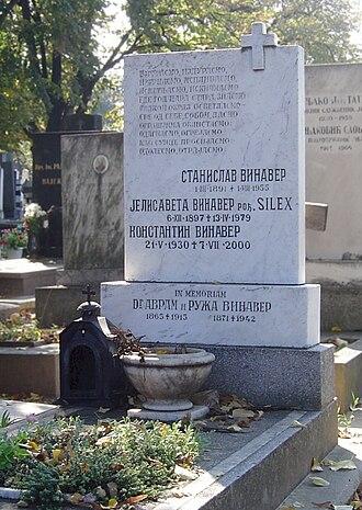Stanislav Vinaver - Vinaver's grave in Belgrade's New Cemetery