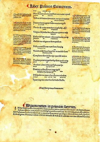 Johann Grüninger - Leaf from Grüninger's publication of Horace's Opera printed in 1498. This particular leaf is from the last fifteen lines of satire 1.10.