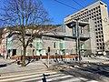 Gulating Lagmannsrett courthouse (Appeal Court) at Gulatings plass, Kaigaten, Den gamle hovedbrannstasjonen (old firestation), Bergen rådhus (city hall), etc. in Bergen, Norway. 2018-03-17.jpg